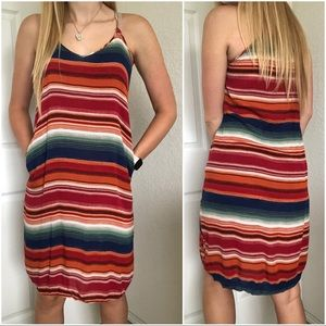 Colorful Striped Baja Midi Tank Top Dress